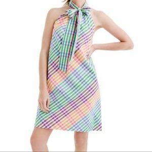 NWT J. Crew Tie Neck Rainbow Gingham Dress